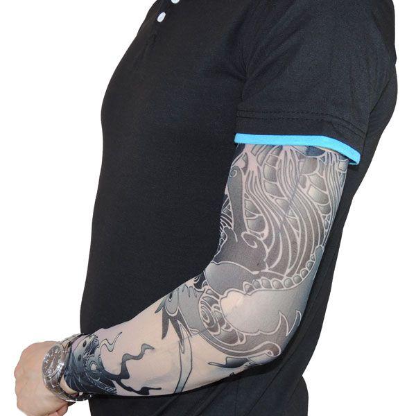 Тату рукав с изображением дракона